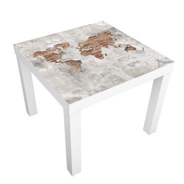 Tavolino design Shabby Concrete Brick World Map
