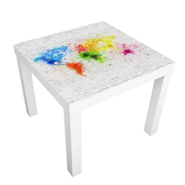 Tavolino design White Brick Wall World Map