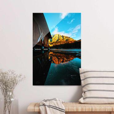 Quadro in vetro - Riflesso delle montagne nelle Dolomiti