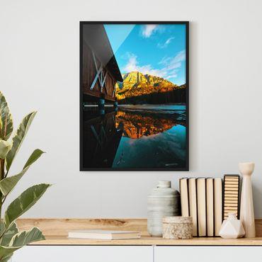 Poster con cornice - Riflesso delle montagne nelle Dolomiti