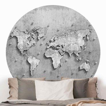 Carta da parati rotonda autoadesiva - Concrete Mappa del mondo