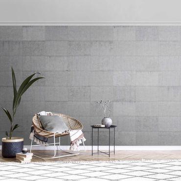 Carta da parati metallizzata - Effetto mattoni di cemento grigio