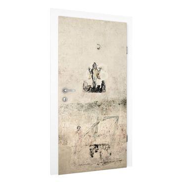 Carta da parati per porte - Door Mural Old Concrete Wall