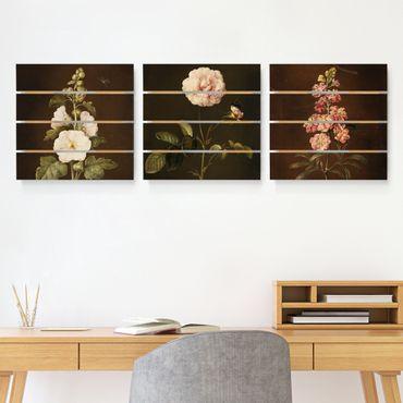 Quadro in legno effetto pallet - Barbara Regina Dietzsch - rose e Levkkoje - Quadrato 1:1