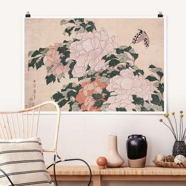 Poster - Katsushika Hokusai - Rosa peonie con la farfalla - Orizzontale 2:3