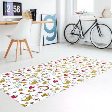 Tappeti in vinile - Unicorni e dolci in giallo e rosso - Verticale 1:2