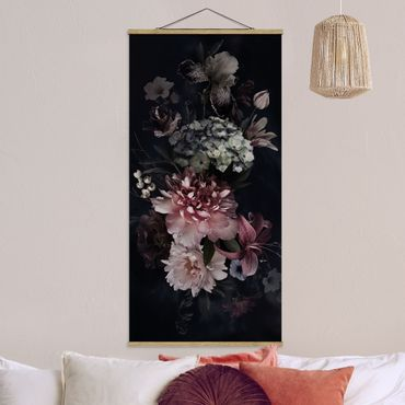 Foto su tessuto da parete con bastone - Fiori con la nebbia in Nero - Verticale 2:1