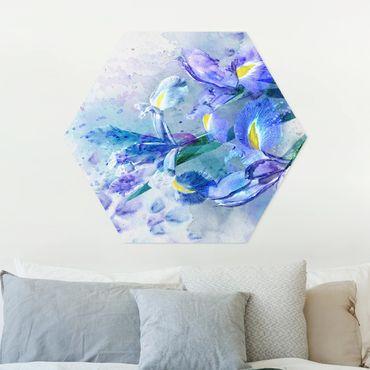 Esagono in forex - Acquerello fiori dell'iride