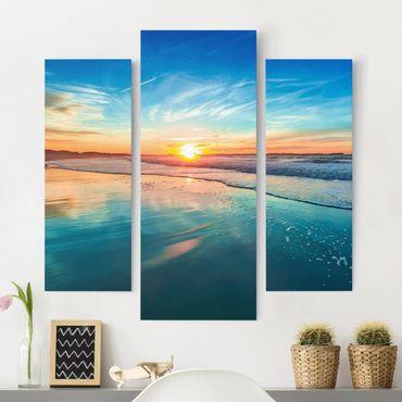 Stampa su tela - Romantic Sunset By The Sea - Trittico da galleria