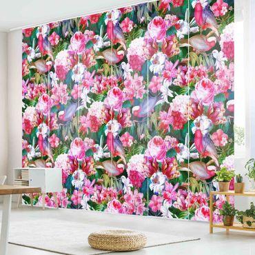 Tende scorrevoli set - Tropicali variopinti fiori con uccelli rosa - 6 Pannelli
