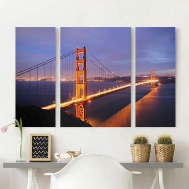 Stampa su tela 3 parti - Golden Gate Bridge At Night - Trittico