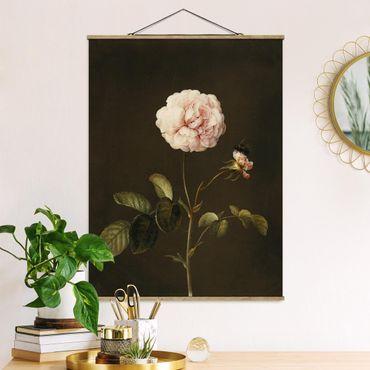 Foto su tessuto da parete con bastone - Barbara Regina Dietzsch - Rosa Gallica Con Bumblebee - Verticale 4:3