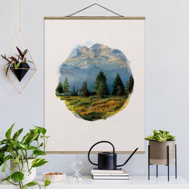 Foto su tessuto da parete con bastone - Acquarelli - Emosson Wallis Svizzera - Verticale 4:3