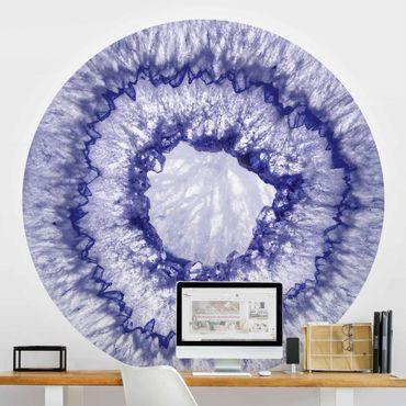 Carta da parati rotonda autoadesiva - Cristallo blu viola