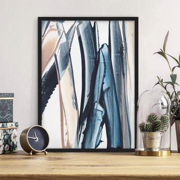 Poster con cornice - Strisce blu e beige