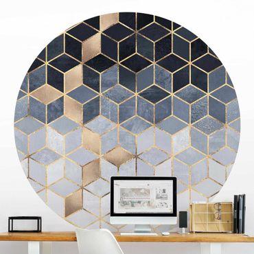 Carta da parati rotonda autoadesiva - Elisabeth Fredriksson - Geometria d'oro Blu Bianco