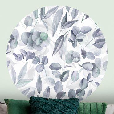 Carta da parati rotonda autoadesiva - foglie di eucalipto blu acquerello