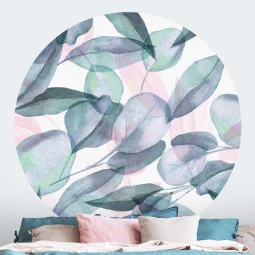 Carta da parati rotonda autoadesiva - foglie di eucalipto Rosane Blu e acquerello