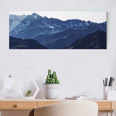Quadro in vetro - Vista panoramica di montagne blu