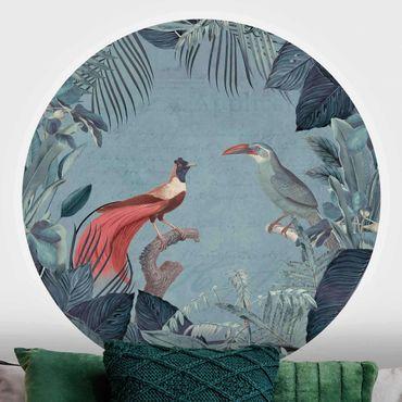 Carta da parati rotonda autoadesiva - Paradiso blu grigio con uccelli tropicali