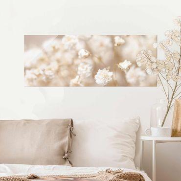 Quadro in vetro - Sogno floreale in crema
