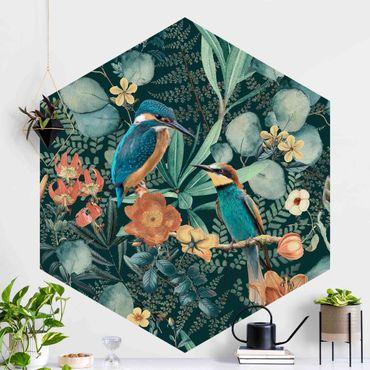Carta da parati esagonale adesiva con disegni - Paradiso floreale con colibrì e martin pescatore