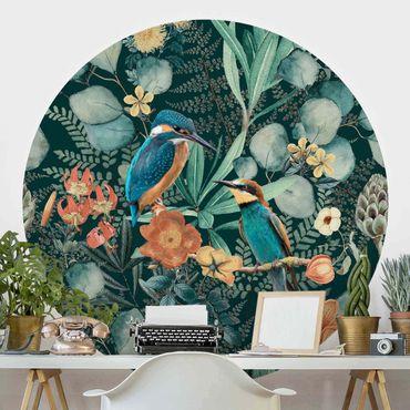 Carta da parati rotonda autoadesiva - Floral Kingfisher paradiso e Hummingbird