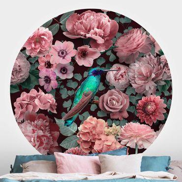 Carta da parati rotonda autoadesiva - Blumenparadies Hummingbird con rose