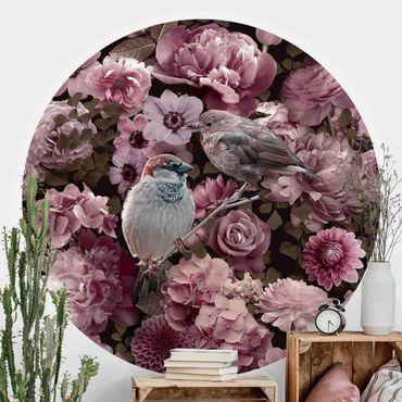 Carta da parati rotonda autoadesiva - Floral passero paradiso in rosa antico