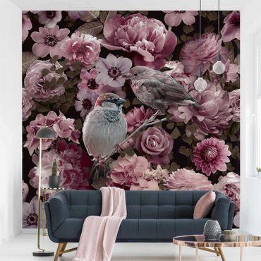 Carta da parati - Paradiso floreale con passerotti in rosa antico