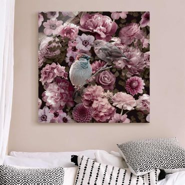 Quadro in vetro - Paradiso floreale con passerotti in rosa antico