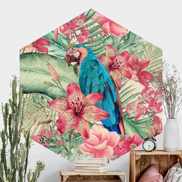 Carta da parati esagonale adesiva con disegni - Paradiso floreale con pappagallo tropicale