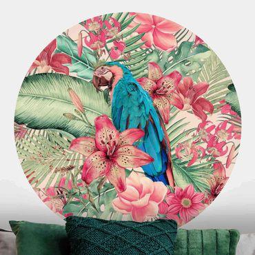 Carta da parati rotonda autoadesiva - Flower Paradise Tropical Parrot
