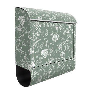 Cassetta postale - Viticcio floreale su sfondo verde