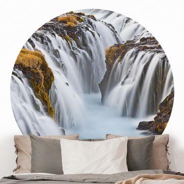 Carta da parati rotonda autoadesiva - Bruarfoss cascata in Islanda