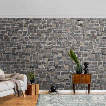 Carta da parati metallizzata - Carta da parati con muro di pietra naturale