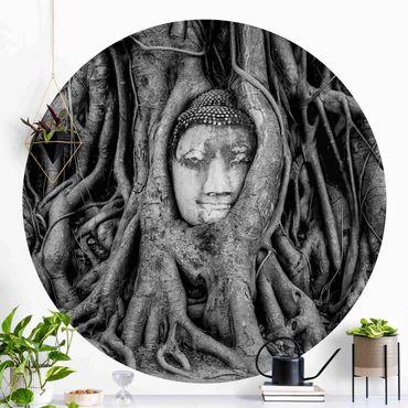 Carta da parati rotonda autoadesiva - Buddha in Ayutthaya dalle radici degli alberi allineati in bianco e nero
