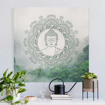 Stampa su tela - Buddha Mandala nella nebbia - Quadrato 1:1