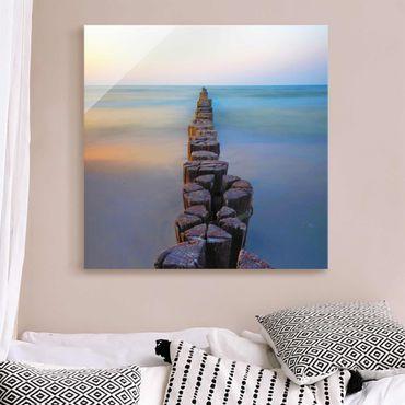 Quadro in vetro - Argini al tramonto al mare