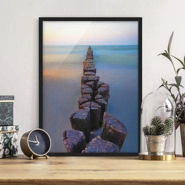 Poster con cornice - Argini al tramonto al mare