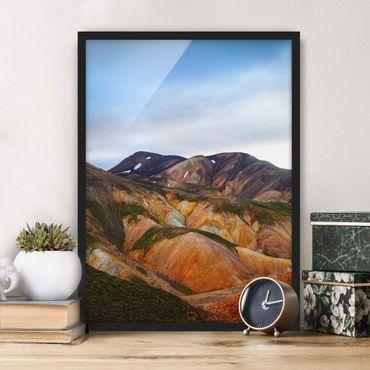 Poster con cornice - Montagne colorate in Islanda