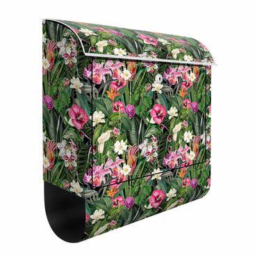 Cassetta postale - Collage di fiori colorati tropicali