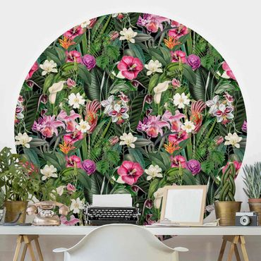 Carta da parati rotonda autoadesiva - Tropicali variopinti fiori collage