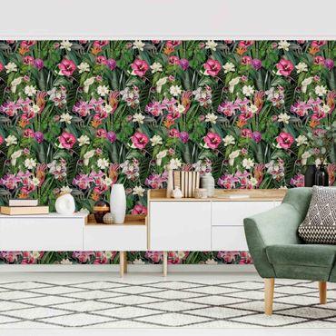 Carta da parati - Collage di fiori colorati tropicali