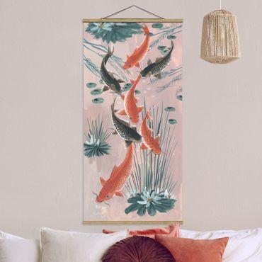Foto su tessuto da parete con bastone - Asian Art Kois Nello Stagno I - Verticale 2:1