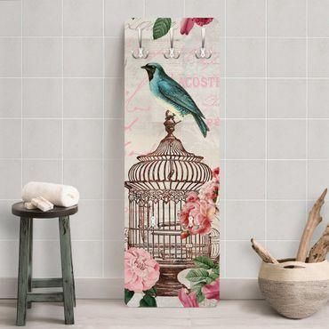 Appendiabiti - Shabby Chic Collage - Fiori rosa e Bluebirds