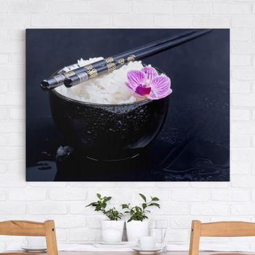 Stampa su tela - Rice Bowl Con L'orchidea - Orizzontale 3:4