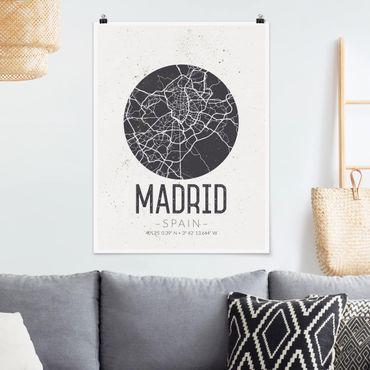 Poster - Mappa Madrid - Retro - Verticale 4:3