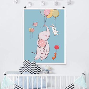 Poster - Flying Elephant, coniglio e lo scoiattolo - Verticale 4:3
