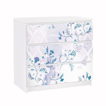 Carta adesiva per mobili IKEA - Malm Cassettiera 3xCassetti - Blue Fantasy Pattern